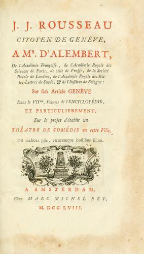 Download J.J. Rousseau citoyen de Genève, a Mr. d'Alembert …