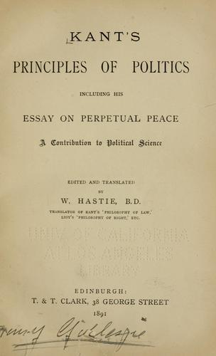 Kant's principles of politics