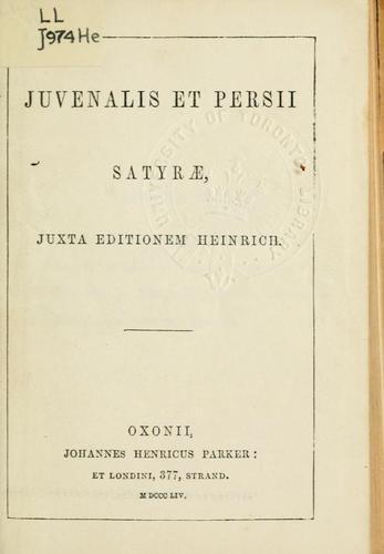 Juvenalis et Persii Satyrae