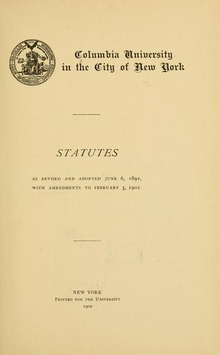 Statutes, as revised and adopted June 6, 1892