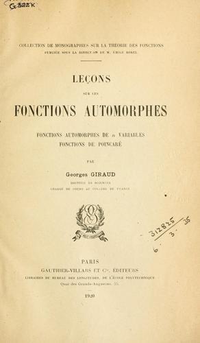 Download Leçons sur les fonctions automorphes