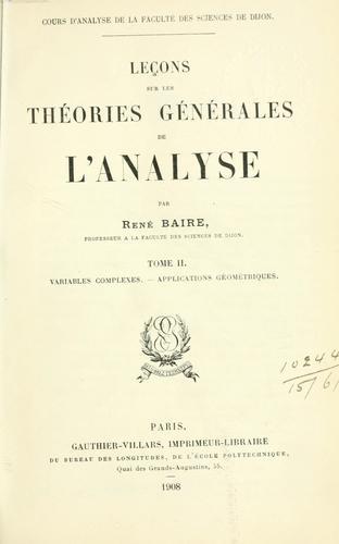 Download Leçons sur les théories générales de l'analyse.