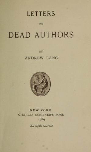 Letters to dead authors.