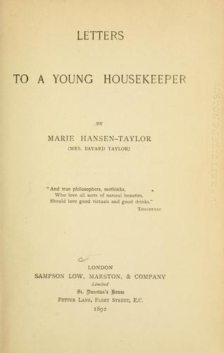 Letters to a young housekeeper.
