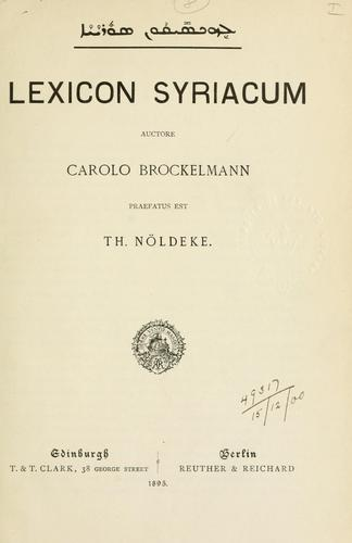 Download Lexicon Syriacum