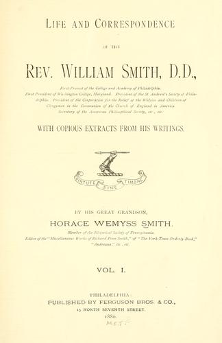 Download Life and correspondence of the Rev. William Smith, D. D.