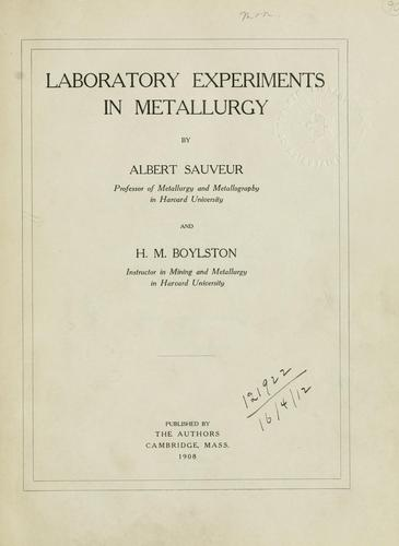 Download Laboratory experiments in metallurgy