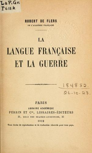 La langue française et la guerre.