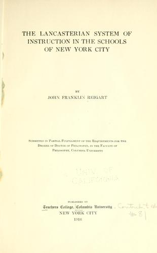 Download The Lancasterian system of instruction in the schools of New York City.