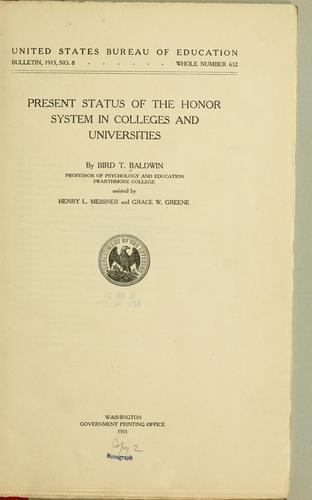 Present status of the honor system in colleges and universities