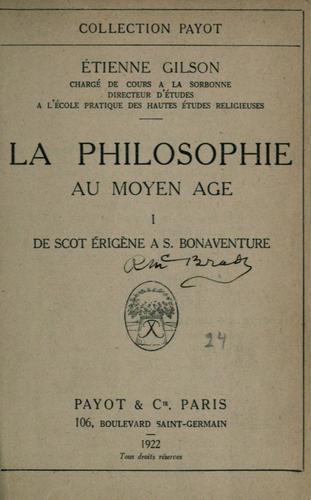 La philosophie au moyen âge …