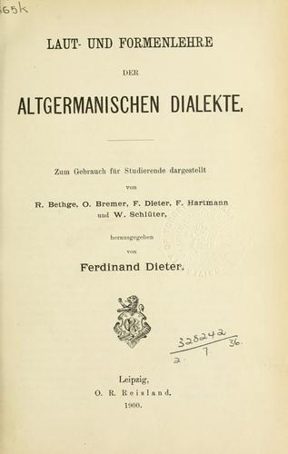 Download Laut- und Formenlehre der altgermanischen Dialekte