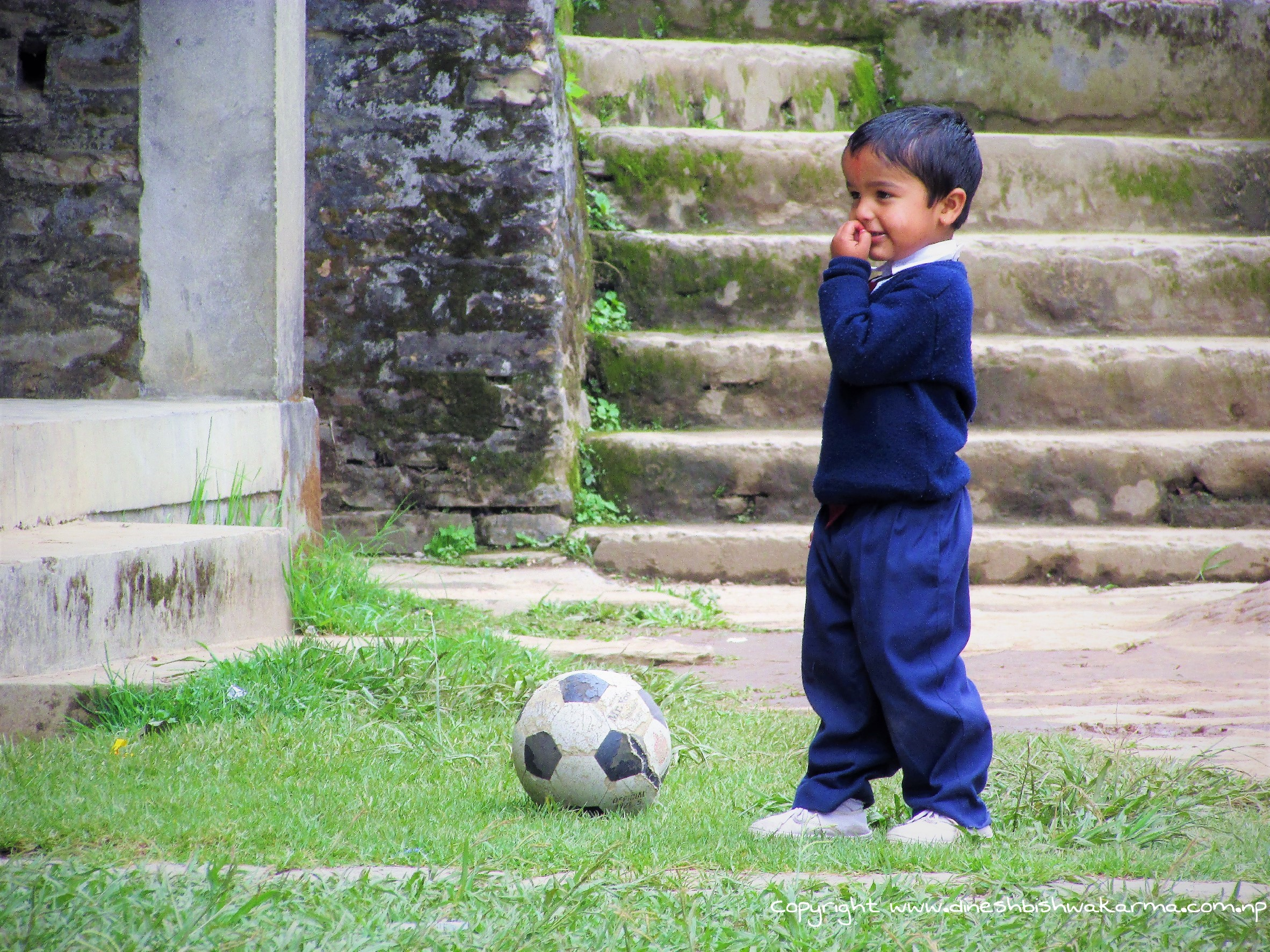 Little Boy playing Football, Lumle Kaski