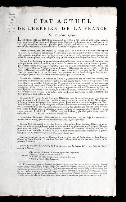 E tat actuel de l'Herbier de la France by Bulliard, Pierre