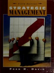 Cover of: Strategic management   Fred R. David