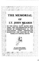 The Memorial of Lt. John Meares of the Royal Navy by John Meares
