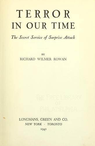 Terror in our time by Richard Wilmer Rowan