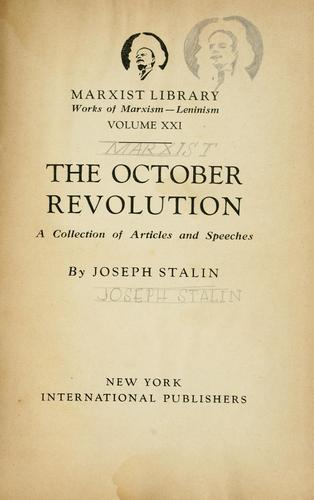 The October revolution by Joseph Stalin