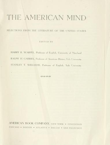 The American mind by Warfel, Harry R.