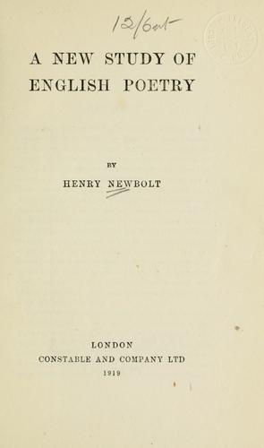 A new study of English poetry by Newbolt, Henry John Sir