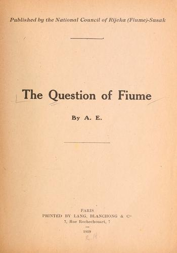 The question of Fiume by