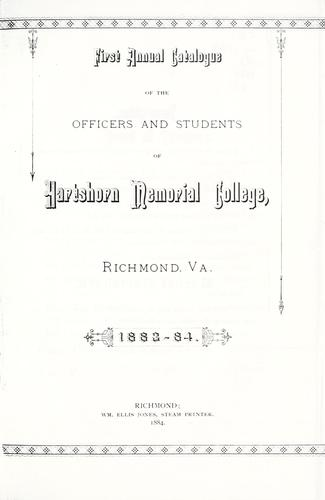 First annual catalogue of the officers and students of Hartshorn Memorial College by Hartshorn Memorial College.