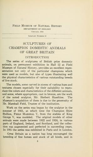 Sculptures by Herbert Haseltine of champion domestic animals of Great Britain by Field Museum of Natural History.