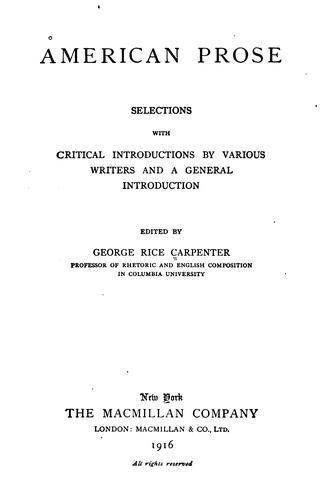 American prose (1607-1865)