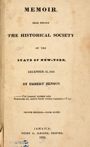 Memoir read before the Historical Society of the State of New-York, December 31, 1816