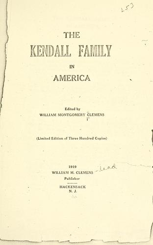 The Kendall family in America by William Montgomery Clemens