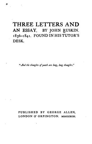 Three letters and an essay, 1836-1841