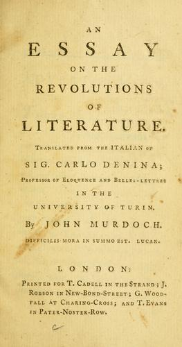 An essay on the revolutions of literature