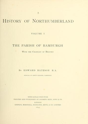 A history of Northumberland. issued under the direction of the Northumberland county history committee by H. H. E. Craster