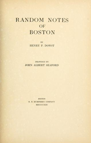 Random notes of Boston by G. A. Vignaux