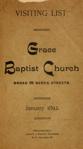 Grace Baptist Church...visiting list, January, 1892 by Philadelphia. Grace Baptist Church.