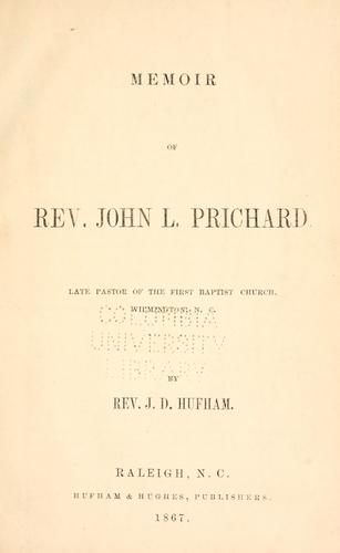Memoir of Rev. John L. Prichard by J. D. Hufham