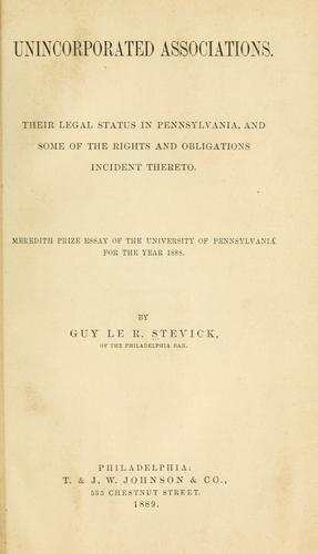 Unincorporated associations by Guy le R. Stevick
