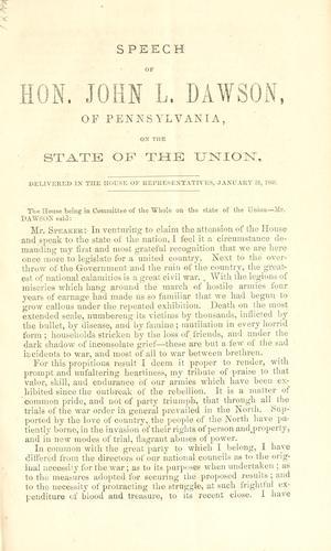 Speech of Hon. John L. Dawson, of Pennsylvania