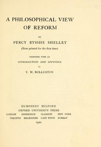 A philosophical view of reform.