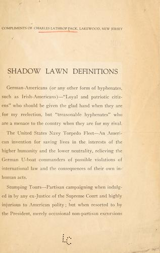 Shadow Lawn definitions by C. L. Pack
