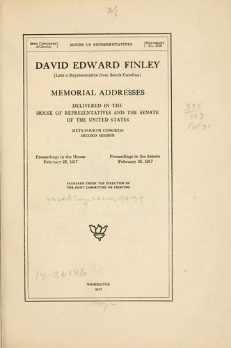 David Edward Finley by United States. 64th Congress, 2d session