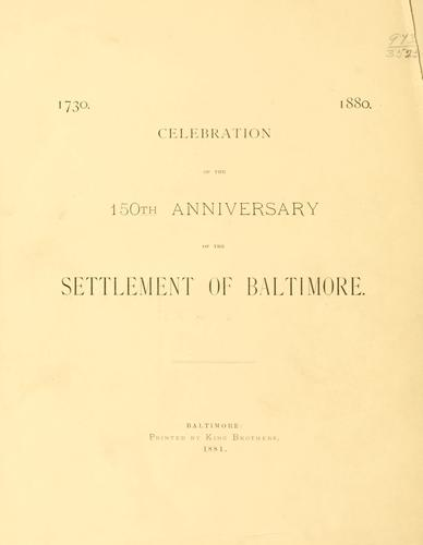 1730. Memorial volume. 1880 by Baltimore