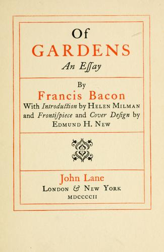 Of gardens by Francis Bacon
