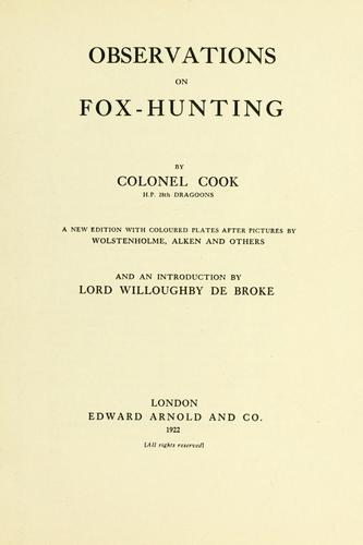Observations on fox-hunting by Cook, John
