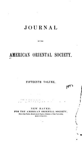 Journal of the American Oriental Society by American Oriental Society