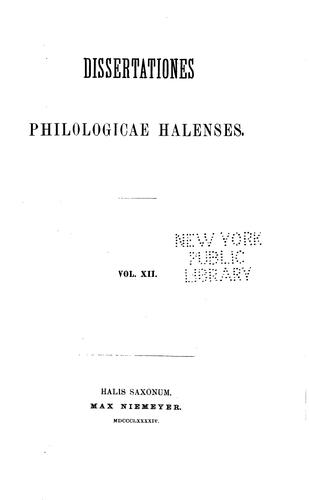 Dissertationes Philologicae Halenses by