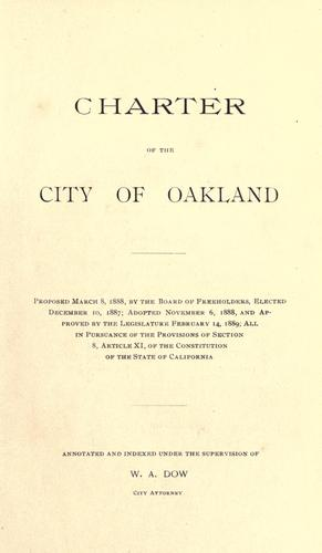 City charter of the city of Oakland, Cal by