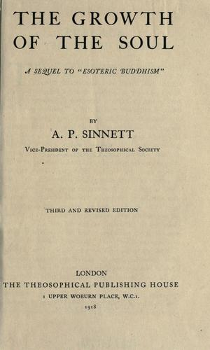 The growth of the soul by A. P. Sinnett