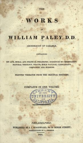The works of William Paley …