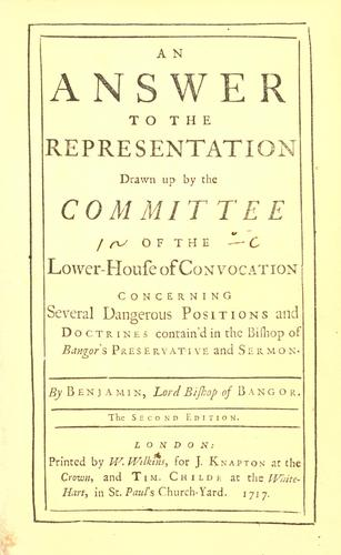 An answer to the representation drawn up by the Committee of the Lower-House of Convocation